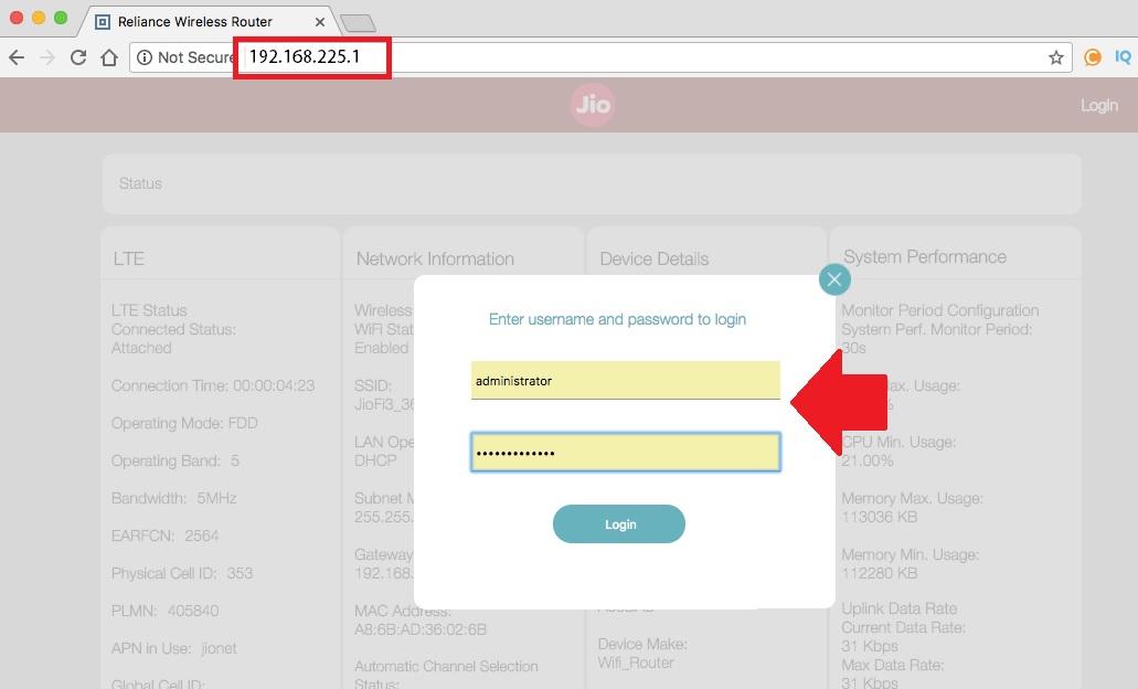 192.168.225.1 Login Page Username Password